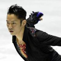 Not as planned: Daisuke Takahashi, seen in a file photo from April 2013, struggled with his jumps during Tuesday's practice session in Sochi, Russia. | KYODO