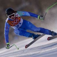 No slowing down: Slovenia's Tina Maze skis during the women's downhill competition at the Rosa Khutor Alpine Center on Wednesday. | AFP-JIJI