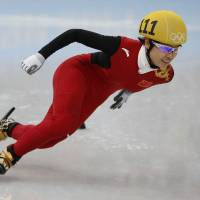 Speed to burn: China's Li Jianrou competes in the women's short track 500-meter final at Iceberg Skating Palace on Thursday. Li won the gold medal. | AFP-JIJI
