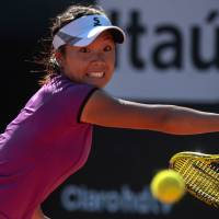 Big break: Kurumi Nara plays a shot during her 6-1, 4-6, 6-1 win over Klara Zakopalova in the final of the Rio Open on Sunday. | AFP-JIJI