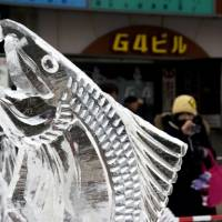 Ice art: A closeup of a fish ice sculpture at a previous Sapporo Snow Festival.