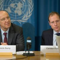 WIPO Director General Francis Gurry (left) and Chief Economist Carsten Fink speak to journalists on March 13 to present results showing record-level IP filings via WIPO in 2013. | © WIPO 2014/Emmanuel Berrod.