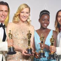 Matthew McConaughey (from left), Cate Blanchett, Lupita Nyong'o and Jared Leto show off their Oscars on Sunday at the Academy Awards in Los Angeles. | AP