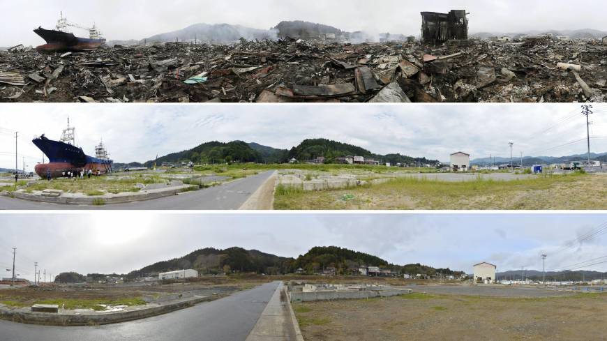 A series of photos show (from top) the same location in Kesennuma, Miyagi Prefecture: on March 15, 2011, Aug. 30, 2012, and Nov. 11 last year, after the Kyotoku Maru No. 18 was removed.