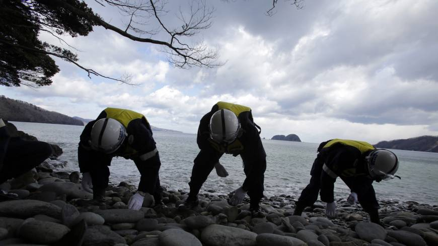 Police in Ishinomaki, Miyagi Prefecture, on Tuesday continue searching for the remains of people missing in the March 11, 2011, tsunami.