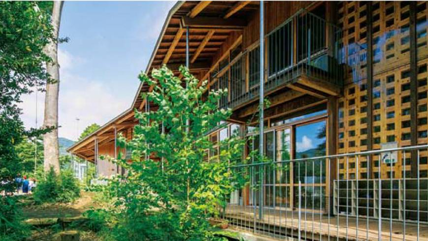 Natural setting: Nanasawa Kibounooka Elementary School, designed by architect Ben Nakamura, uses energy sources such as rainwater, biomass recycling and geothermal heating.