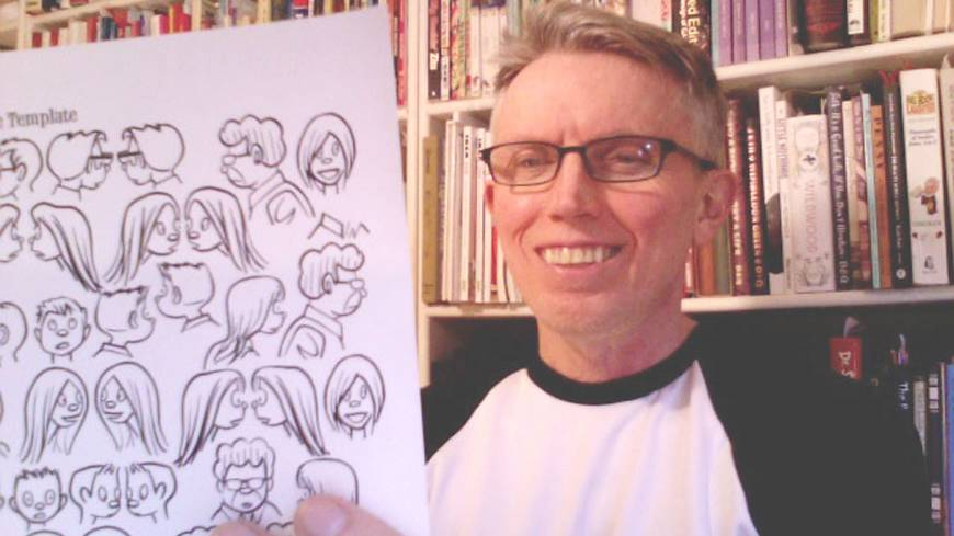 Familiar faces: Japan Times cartoonist Roger Dahl holds up some templates for his long-running 'Zero Gravity' strip at his home in Seattle.