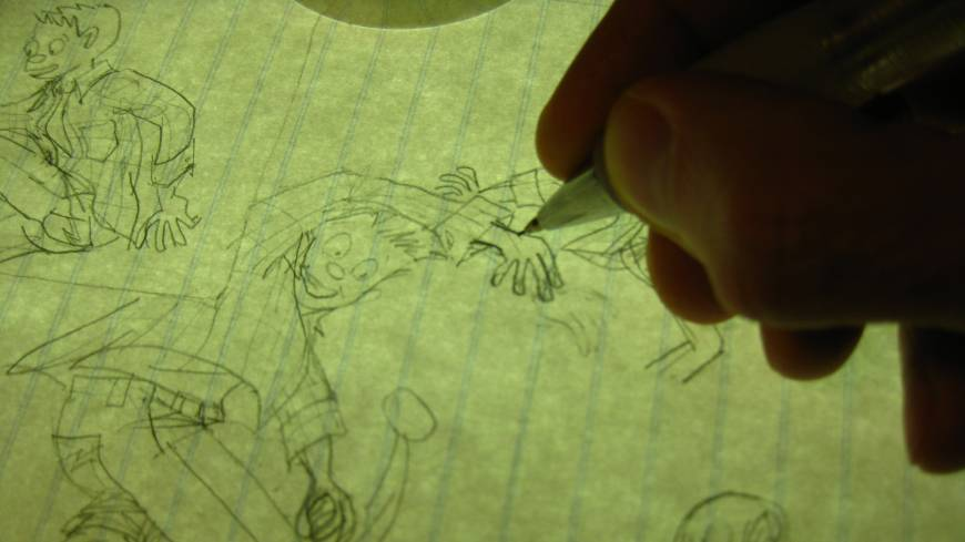 Fine line: Dahl traces over the sketches with ink on heavy plate-finish paper.