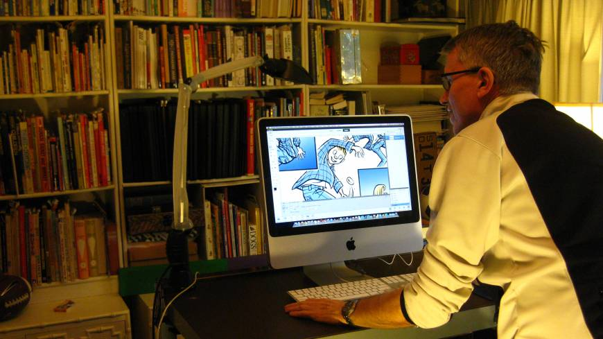 A splash of paint: Dahl adds color to a scan of the inked version.