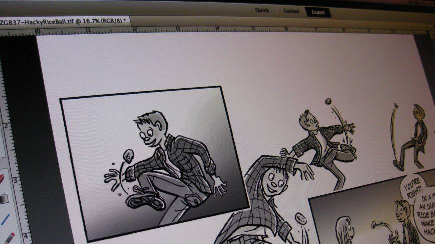 Fade to gray: The colorized drawing is converted to black-and-white for the print newspaper.