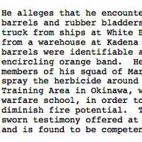 Sworn testimony: an excerpt from the October 2013 ruling that awarded compensation to the former marine exposed to Agent Orange on Okinawa.