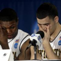Nobody's perfect: Wichita State's Cleanthony Early (left) and Fred VanVleet participate in a news conference on Sunday. | AP