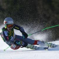 On the edge: American Ted Ligety competes during a World Cup giant slalom in Kranjska Gora, Slovenia, on Saturday. Ligety won in a time of 2 minutes, 30.80 seconds. | AP