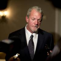 Troubled: Indianapolis Colts owner Jim Irsay, seen here in 2013, was arrested Sunday night on suspicion of drunken driving and possession of a controlled substance in Carmel, Indiana. | AP