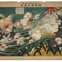 "High seas: A print of  the""Great battle at Lüshun Bay"" (above) shows sailors on a Japanese battleship firing on a Russian battleship during the surprise naval assault on the Russian fleet at Port Arthur (Lüshun). 