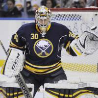 Catch you later: Former Sabres goalie Ryan Miller was traded to the Blues on Friday. Teammate Steve Ott is also headed to St. Louis in the deal. | AP