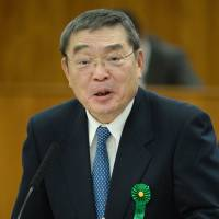 Embattled NHK Chairman Katsuto Momii fields questions from lawmakers during his Diet testimony on Feb. 19. | AFP-JIJI