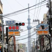 Shops selling kitchen utensils and restaurant equipment line a street in the district, which is especially popular with tourists visiting nearby Ueno and Asakusa. | SATOKO KAWASAKI