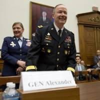 Gen. Keith Alexander, head of the United States Cyber Command, arrives to testify to a House of Representatives subcommittee about modernization on Wednesday. | AP