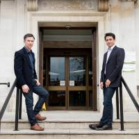 Peter McGraith (left) and David Cabreza pose outside Islington Town Hall in north London on Tuesday. They plan to be one of the first same-sex couples in England and Wales to marry Saturday, the first day gay marriage will become legal in Britain. | AFP-JIJI