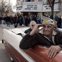 "William ""Wild Bill"" Guarnere participates in a Veterans Day parade in Media, Pennsylvania, on Nov. 11, 2004. 