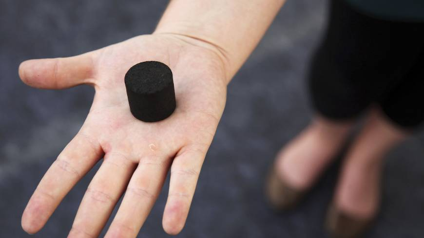 An exhibitor displays biochar, a charcoal-like product made from human waste that can be used as cooking fuel or fertilizer, at the Reinvent the Toilet Fair in New Delhi.