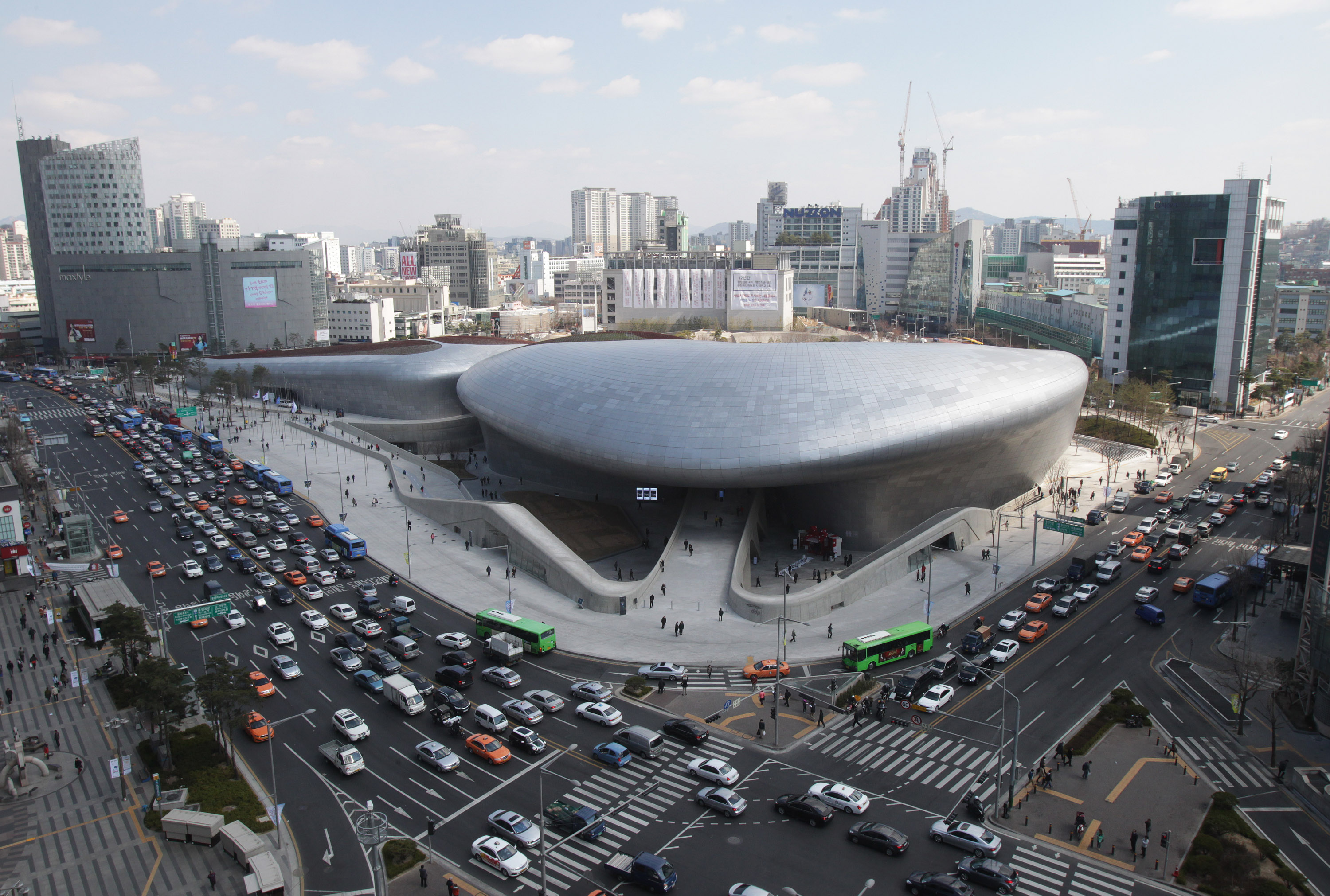 dongdaemun design plaza is seen in downtown seoul on