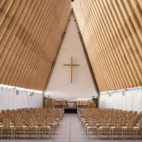 This undated image, released by the Pritzker Architecture Prize committee, shows a cardboard cathedral in New Zealand designed by Tokyo-born architect Shigeru Ban. | AP
