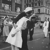 U.S. Navy sailor Glenn Edward McDuffie gives a nurse an impromptu kiss in New York's Times Square after the surrender of Japan was announced on Aug. 14, 1945. | REUTERS