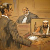 Assistant U.S. Attorney Michael Ferrara (left) is seen in a courtroom drawing cross examining Osama bin Laden's son-in-law, Suleiman Abu Ghaith (center), as an old video recording of Abu Ghaith is played in federal court in New York on Wednesday. | REUTERS