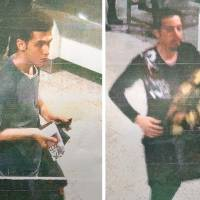 These photos distributed by Malaysian police Tuesday are purported to show 19-year-old Iranian Pouria Nour Mohammad Mehrdad (left) and an unidentified man at Kuala Lumpur International Airport. Both reportedly boarded missing Malaysia Airlines MH370 flight using stolen European passports. | AFP-JIJI/MALAYSIAN POLICE