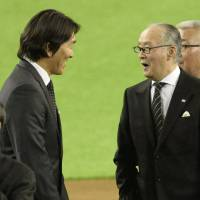 Warm reception: Giants legends Hideki Matsui (left) and Shigeo Nagashima take part in the franchise's 80th anniversary celebration on Friday night at Tokyo Dome. | KYODO
