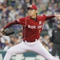Back in action: Eagles left-hander Takahiro Shiomi pitches against the Lions on Saturday at Seibu Dome. Shiomi missed last season due to a shoulder injury. | KYODO