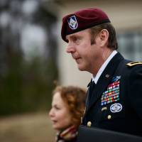 Brig. Gen. Jeffrey Sinclair leaves the courthouse during his trial on sexual assault charges at Fort Bragg, North Carolina, on Tuesday. | AP