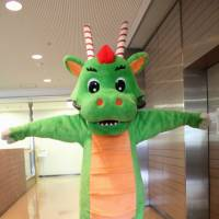 Tsurugon the dragon represents the city of Tsurugashima at the Fukko-Shien Yurukyara & Cosplay Event 2014.