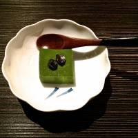 And to finish . . . matcha bavarois, topped with candied black beans. | ROBBIE SWINNERTON