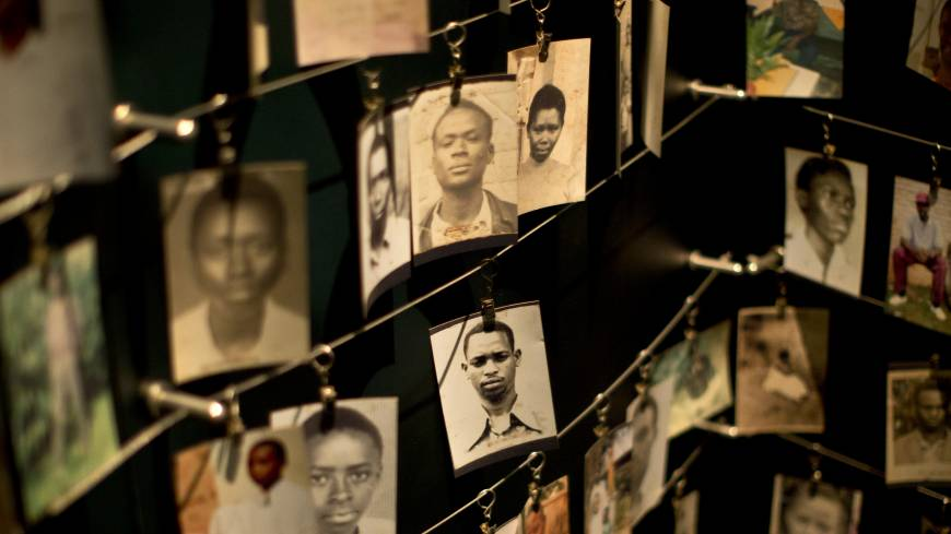 Photographs of people who died in the 1994 Rwandan genocide are displayed Saturday at the Kigali Genocide Memorial Center in the country's capital, Kigali. Rwanda will mark the 20th anniversary of the atrocity, which left up to 1 million dead, on Monday.