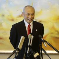 Tokyo Gov. Yoichi Masuzoe speaks to the media in Beijing on Thursday. | REUTERS