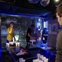 Play to win: A Tokyo Beer Pong Club event in full swing. | ANGELA ERIKA KUBO