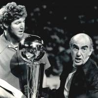 Defining moment: Portland Trail Blazers coach Jack Ramsay and center Bill Walton show off the trophy after beating the Philadelphia 76ers 4-2 in the 1977 NBA Finals. | WIKIPEDIA