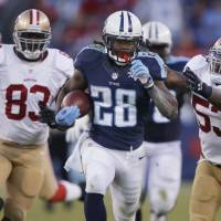 Consistent production: Running back Chris Johnson, who was released by the Tennessee Titans after six seasons, signed with the New York Jets on Wednesday. | AP