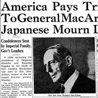 Pulmonary pest ravages; study of racial hygienics urged; Japan mourns Gen. MacArthur; Takeshita resigns over Recruit scandal