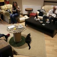 Visitors to Lady Dinah's Cat Emporium take photographs of one of the animals there in London on March 28. | REUTERS