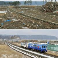 A set of destroyed train tracks (above) is shown on the coast of Noda, Iwate Prefecture, a month after the March 2011 Great East Japan Earthquake and tsunami. The same area is seen last month with a Sanriku Railway train running on new tracks. | KYODO