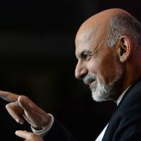 Presidential candidate Ashraf Ghani Ahmadzai gives a news conference in Kabul on Sunday. | AFP-JIJI