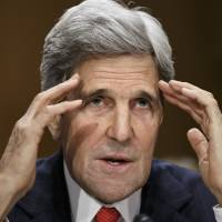 U.S. Secretary of State Kerry testifies before the Senate Foreign Relations Committee in Washington on Tuesday. | AP