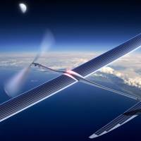 An image released by Titan Aerospace shows the company's Solara 50 aircraft. Google on Monday announced that it was acquiring Titan Aerospace, a maker of solar-powered drones that could be used to boost Internet access to remote areas. | AP