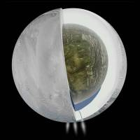 A diagram illustrates the possible interior of Saturn's moon Enceladus based on a gravity investigation by NASA's Cassini spacecraft and NASA's Deep Space Network, courtesy of NASA. The gravity measurements suggest an ice outer shell and a low density, rocky core with a regional water ocean sandwiched in between at high southern latitudes. | REUTERS