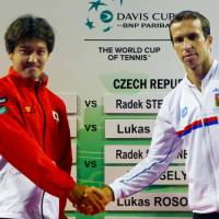 Ready to square off: Japan's Tatsuma Ito (left) and Radek Stepanek of the Czech Republic will compete in Friday's Davis Cup quarterfinals at Ariake Colosseum. | KYODO