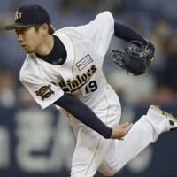 Banner performance: Orix right-hander Chihiro Kaneko tosses a two-hit shutout on Friday against Seibu. The Buffaloes beat the Lions 3-0. | KYODO